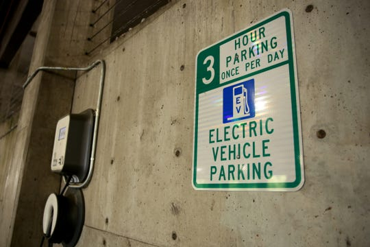 A new Oregon law will allow more electric vehicle drivers to sign up for the state's program that charges drivers based on the miles driven. Photographed inside the Marion Parkade in downtown Salem on July 5, 2019.