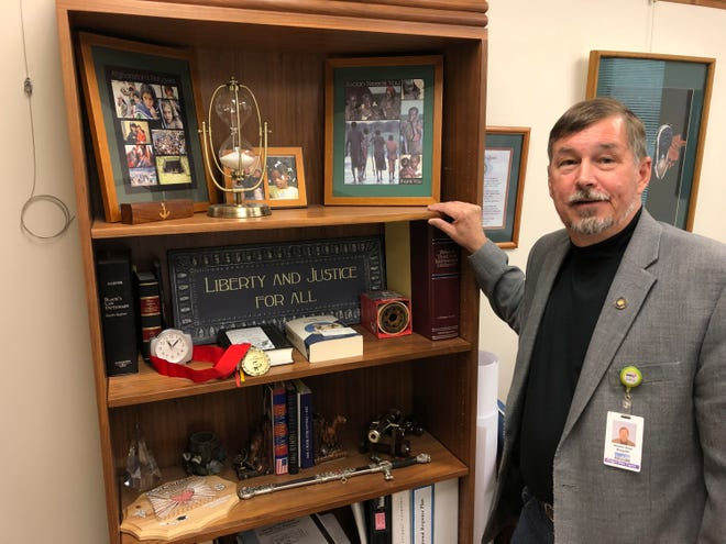 Oregon Sen. Brian Boquist poses in his office in the Oregon State Capitol in Salem.
