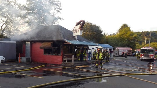Crews from North Lincoln Fire & Rescue responded to a fire at Otis Cafe on Thursday, July 4, 2019.