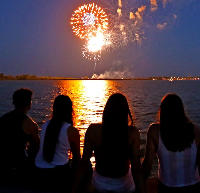 Fireworks light up the sky over Lake Nasworthy on the 4th of July.