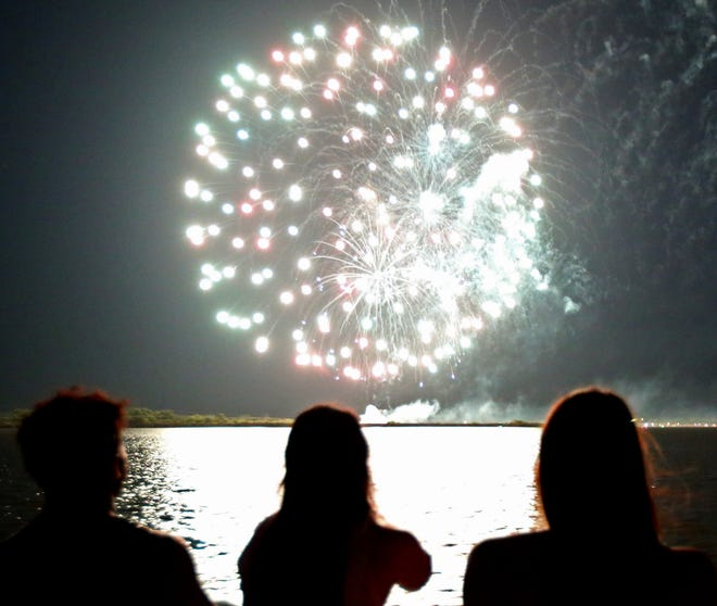 Fireworks go off over Lake Nasworthy on the 4th of July on Thursday.