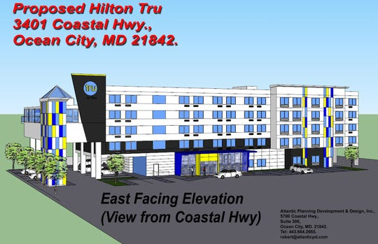 Construction is underway on a 'Tru by Hilton' hotel at Coastal Highway in Ocean City. The hotel is expected to open in spring 2020.