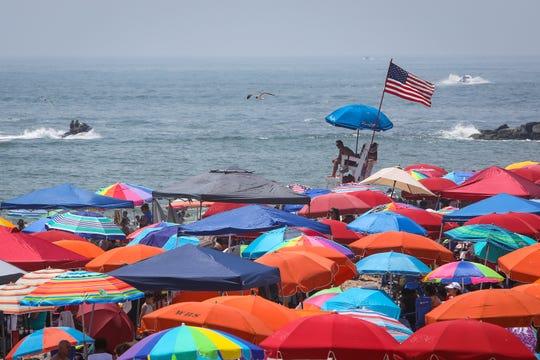 Ocean City Beach Patrol keeping an eye on a crowded beach on July 4, 2019.
