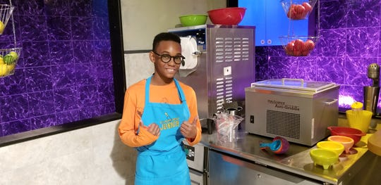 "Owen Osborne on the set of Food Network's ""Chopped Junior,"" airing at 8 p.m. July 9."
