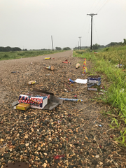 A picture tweeted by the Minnehaha Sheriffs Office shows the paper shells of fireworks left behind on a township road.