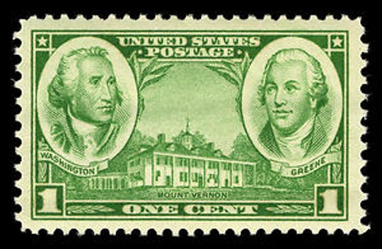 This 1936 one-cent stamp shows George Washington with his friend and most trusted general during the Revolutionary War, Nathanael Greene.