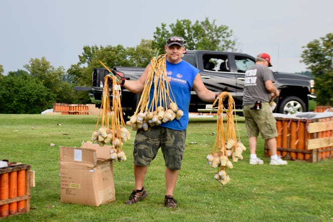 Matt Layman holds the fireworks that will go into the Happy Birthday America fireworks show grand finale on July 4, 2019.