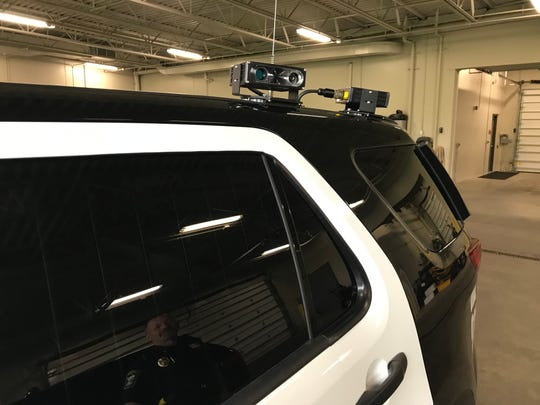 Cameras from an automated license plate reader are shown on a Sauk Rapids squad car June 24, 2019.
