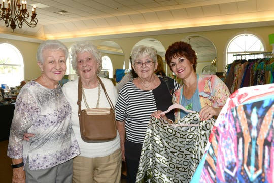 Gerri Elliott, left, Evelyn Monty, Pat Wolff and Beverley Beauchamp at the Jewelia Project Art & Trunk Show at the Pelican Yacht Club in Fort Pierce.