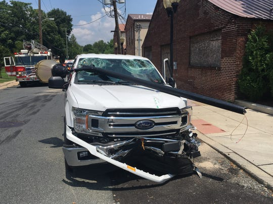 A U-Haul pickup truck crashed into a lamp pole in Wilmington on Friday, July 5, 2019.