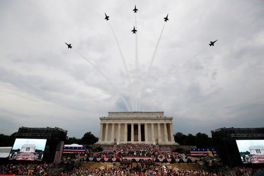 Image result for images of military plane flyover on 4th of July in 2019