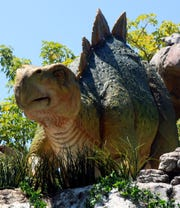 The Stegosaurus in its natural habitat in Jurassic World.