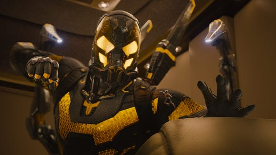 "Yellowjacket (Corey Stoll) and Ant-Man (Paul Rudd) are at odds in ""Ant-Man."""