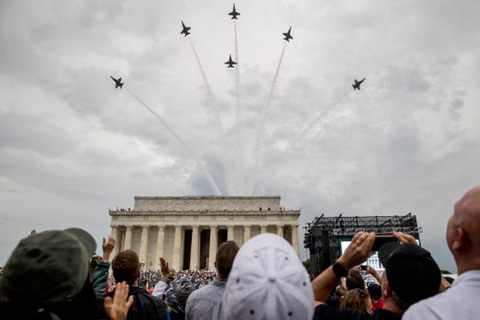 Navy Blue Angels fly over at the conclusion of President Donald Trumps Independence Day celebration in front of the Lincoln Memorial, Thursday, July 4, 2019, in Washington.