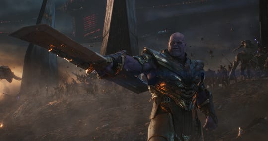 "Thanos (Josh Brolin) leads his army against Earth's mightiest heroes in ""Avengers: Endgame."""