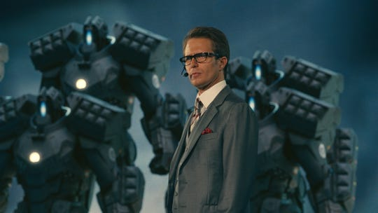 "Sam Rockwell's Justin Hammer, with  some high-tech drones, in ""Iron Man 2."""
