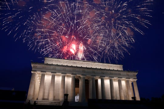 Fireworks go off over the Lincoln Memorial in Washington, Thursday, July 4, 2019.