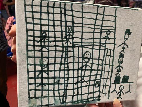 Child's drawing of border detention facility