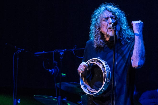 Robert Plant, former Led Zeppelin lead singer, and The Sensational Space Shifters perform at the Arena stage during the Roskilde Festival, in Roskilde, Denmark on July 4, 2019.
