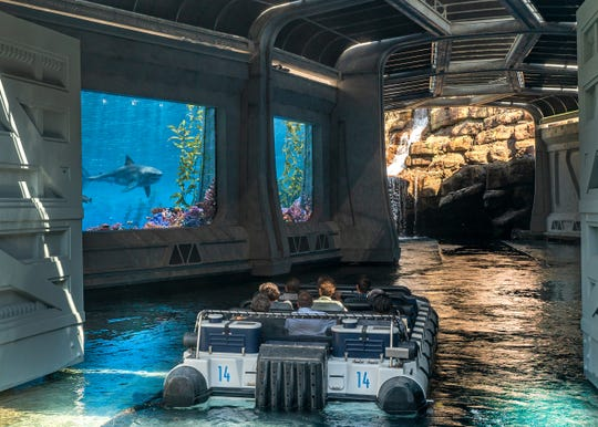 "Beware the Mosasaurus in the aquarium section of the new ""Jurassic World"" ride at Universal Studios Hollywood."