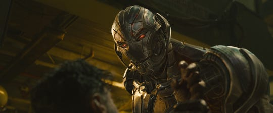 "Wisecracking Ultron (voiced by James Spader) goes rogue in ""Avengers: Age of Ultron."""