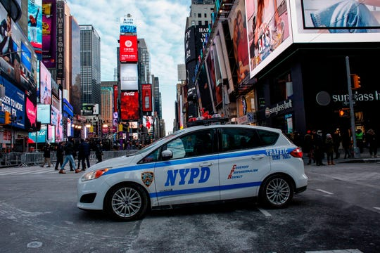 New York Police Department  car located in Times Square in December 2017 in New York City.