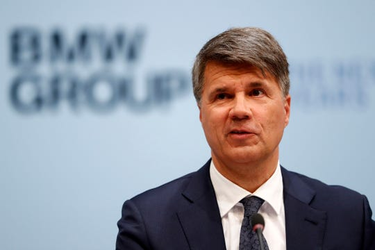 Picture taken March 20, 2019 shows CEO of the German car manufacturer BMW, Harald Krueger, attending the earnings press conference in Munich, Germany.