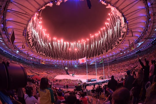 Fireworks go off during the closing ceremonies for the Rio 2016 Summer Olympic Games.
