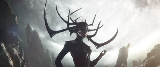 "Hela (Cate Blanchett) has no love for her siblings Thor and Loki in ""Thor: Ragnarok."""