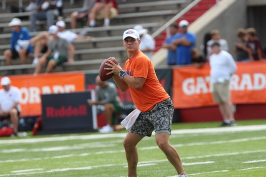 Northwestern State quarterback Shelton Eppler throws a pass during the Manning Passing Academy this past weekend.