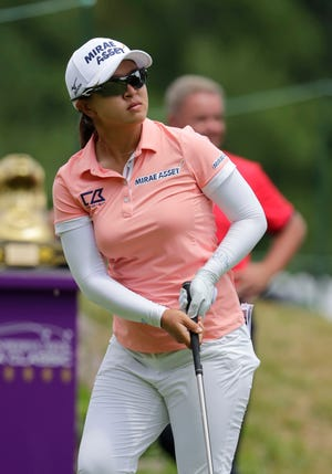 Sei Young Kim watches her tee shot during the second round of the Thornberry Creek LPGA Classic in Hobart.