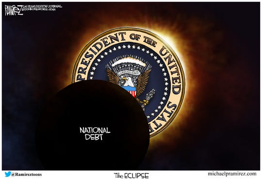 The national debt continues to grow.  (Credit:  Michael Ramirez, Las Vegas Review-Journal)