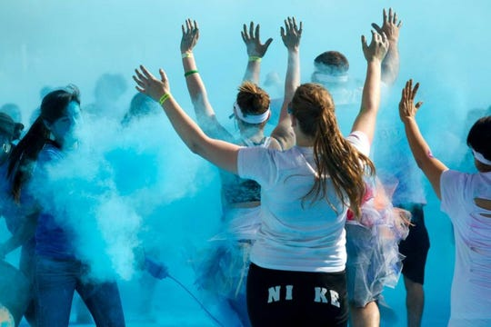 The Blue Zone in a previous Color Run in Binghamton.