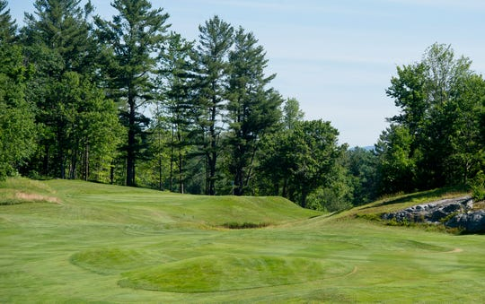 The bunkerless green at the par-4 14th hole is one of the toughest to hit at Rutland Country Club, site of the 2019 Vermont Amateur golf championship.