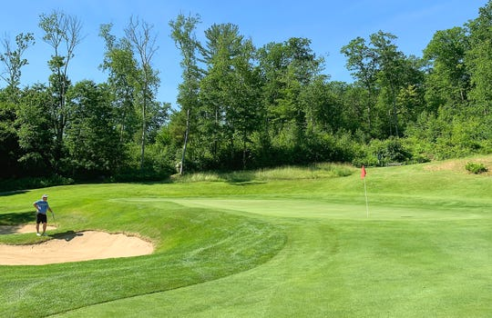 The green at the par-5 13th hole is among the toughest and most steeply sloped at Rutland Country Club, site of the 2019 Vermont Amateur golf championship.