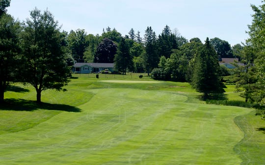 The green of the par-5 4th hole is reachable in two for the longer hitters at Rutland Country Club during the 2019 Vermont Amateur golf championship.