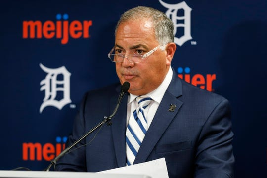 Tigers general manager Al Avila answers questions during a press conference at Comerica Park in Detroit on July 5, 2019.