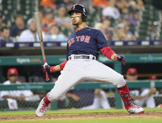 Red Sox right fielder Mookie Betts bats against the Tigers on July 5, 2019, at Comerica Park.