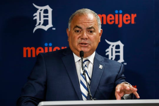 Tigers general manager Al Avila answers questions during a news conference at Comerica Park in Detroit on July 5, 2019.