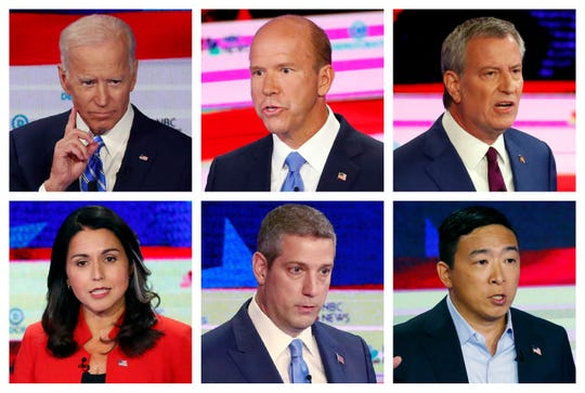This combination of June 26 and 27, 2019 photos from the first round of Democratic debates in Miami shows, top row from left, former Vice President Joe Biden, former Maryland Congressman John Delaney and New York City Mayor Bill de Blasio; bottom row from left, Hawaii Rep. Tulsi Gabbard, Ohio Rep. Tim Ryan and entrepreneur Andrew Yang.
