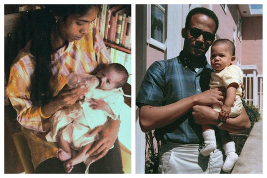This combination of undated and April 1965 photos provided by the Kamala Harris campaign in April 2019 shows, Shyamala Gopalan Harris, 25, and Donald Harris with their daughter, Kamala.