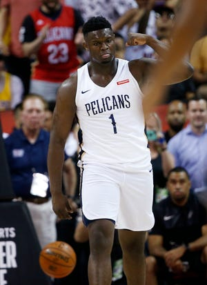New Orleans Pelicans' Zion Williamson reacts during Friday's NBA Summer League game against the Knicks.