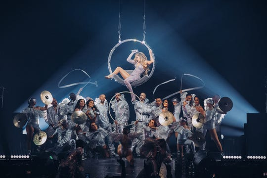 Jennifer Lopez performs at the Forum in Los Angeles last month.