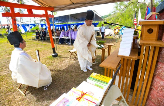 Shinto priests preside over a 7th Guam World War II Peace Memorial Service celebrated at the Guam Chinkon Shrine at Adelup on Saturday, July 6, 2019. The requiem ceremony was held for the reposing of the souls who fell victim during WWII, said Eugene Camacho with the Fukasasenai-Kai organization.