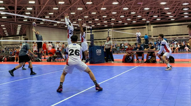 The Guahan Boys 16-1 team competes at the 2019 USA Boys' Junior National Volleyball Championships in Dallas.