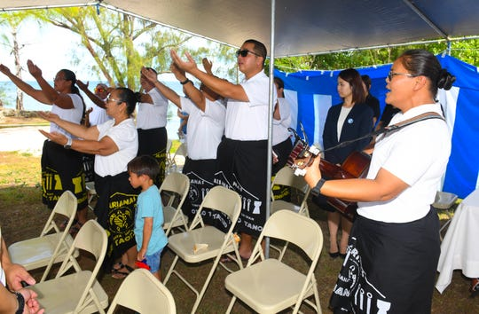 CHamoru cultural group, Guam Irensian Taotao Tano, performs a blessing during the 7th Guam World War II Peace Memorial Service celebrated at the Guam Chinkon Shrine at Adelup on Saturday, July 6, 2019. The requiem ceremony was held for the reposing of the souls who fell victim during WWII, said Eugene Camacho with the Fukasasenai-Kai organization.