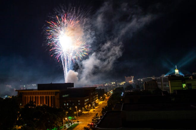 Fireworks go off after the end of the first night of Jazz Fest, Friday, July 5, 2019, in Iowa City, Iowa.