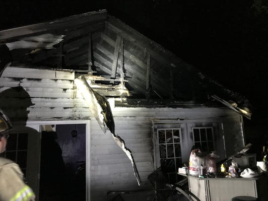 Fireworks were the cause of this house fire on Acuff Street. Firefighters responded the home, which might have been set ablaze by embers landing on the roof, just after midnight July 6, 2019.