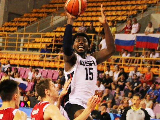 Purdue's Trevion Williams in action for Team USA at U19 World Cup