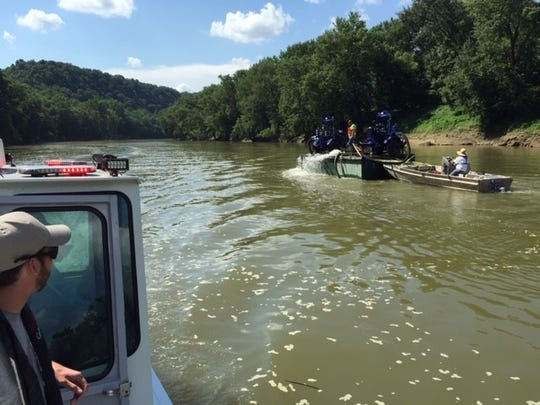 The Kentucky Energy and Environment Cabinet is taking dissolved oxygen readings on the Kentucky River to determine the extent of bourbon runoff  from the Jim Beam warehouse fire that started July 2, 2019.